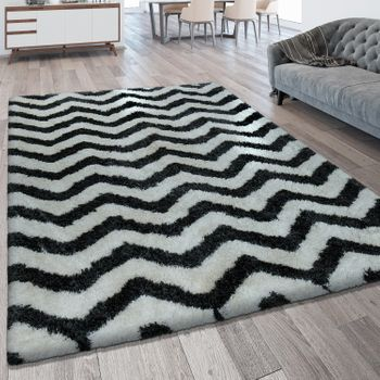 Deep Pile Rug Zigzag Pattern Black White