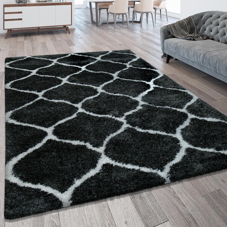 hochflorteppich marokkanisches muster anthrazit hochflor teppiche. Black Bedroom Furniture Sets. Home Design Ideas
