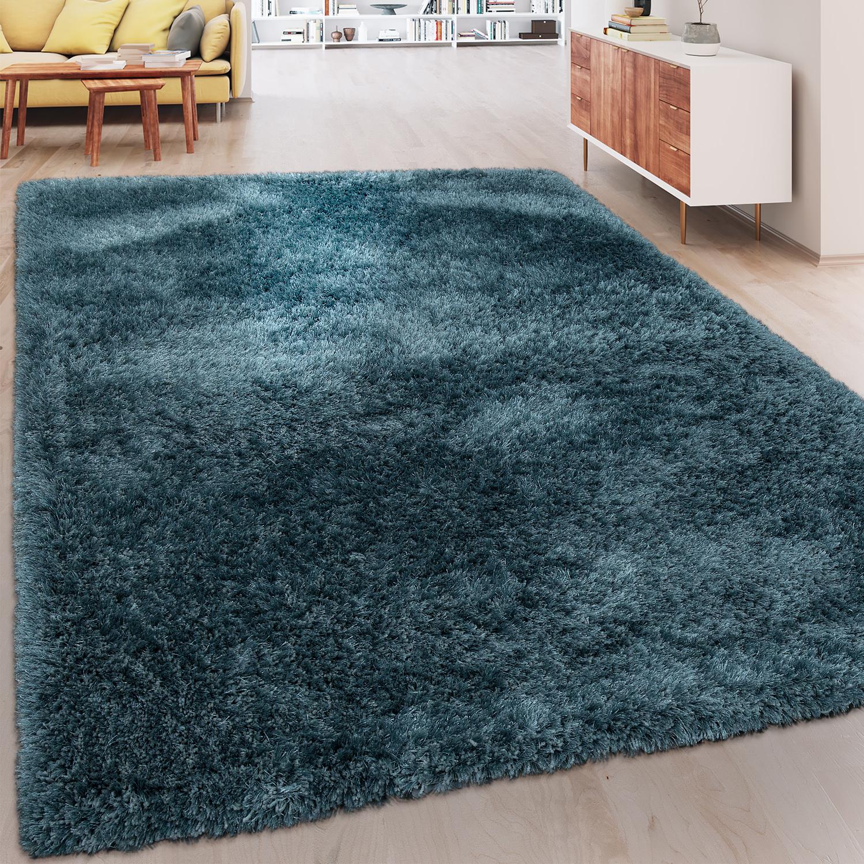 soft shaggy teppich einfarbig petrol blau hochflor teppiche. Black Bedroom Furniture Sets. Home Design Ideas