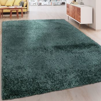 Soft Shaggy Rug One Colour Pastel Green