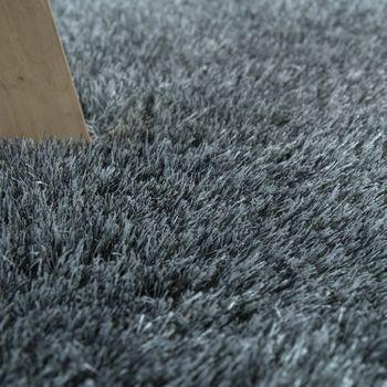 Hochflorteppich Super Soft Grau Handgemacht – Bild 3