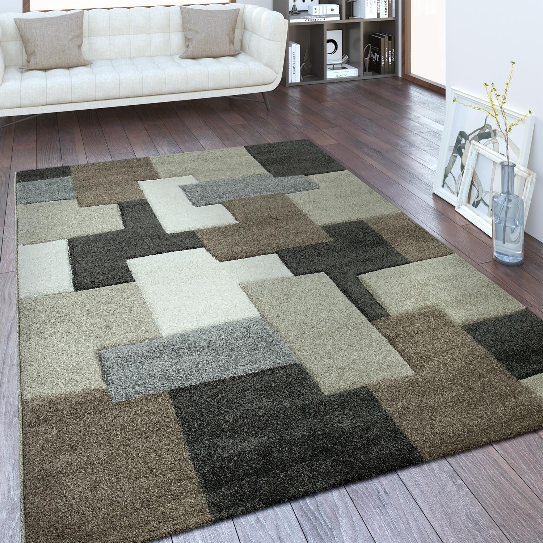 Designer Teppich Geometrisches Design Taupe