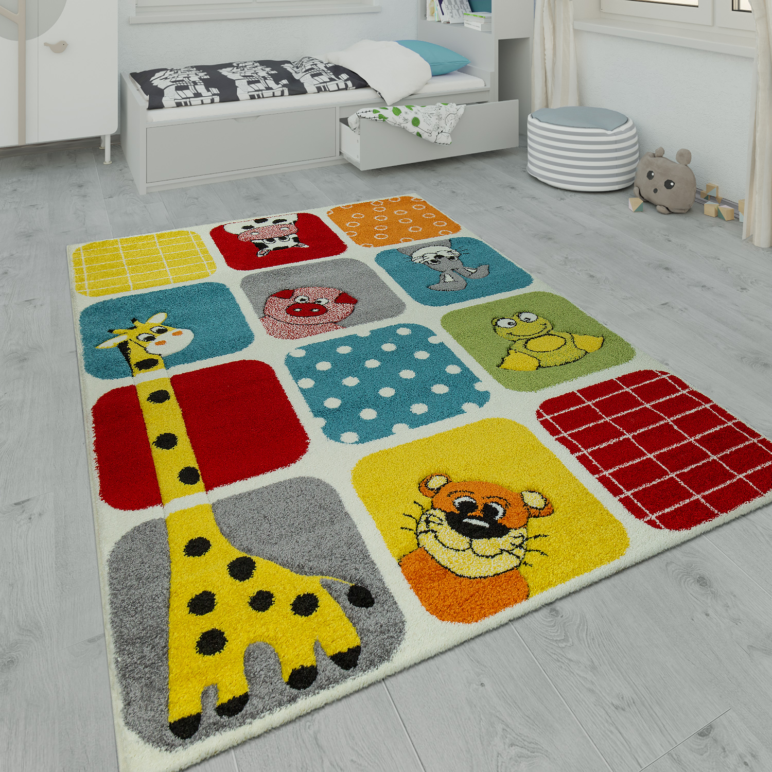 Kinderteppich Spielzimmer Tier Design Multicolor