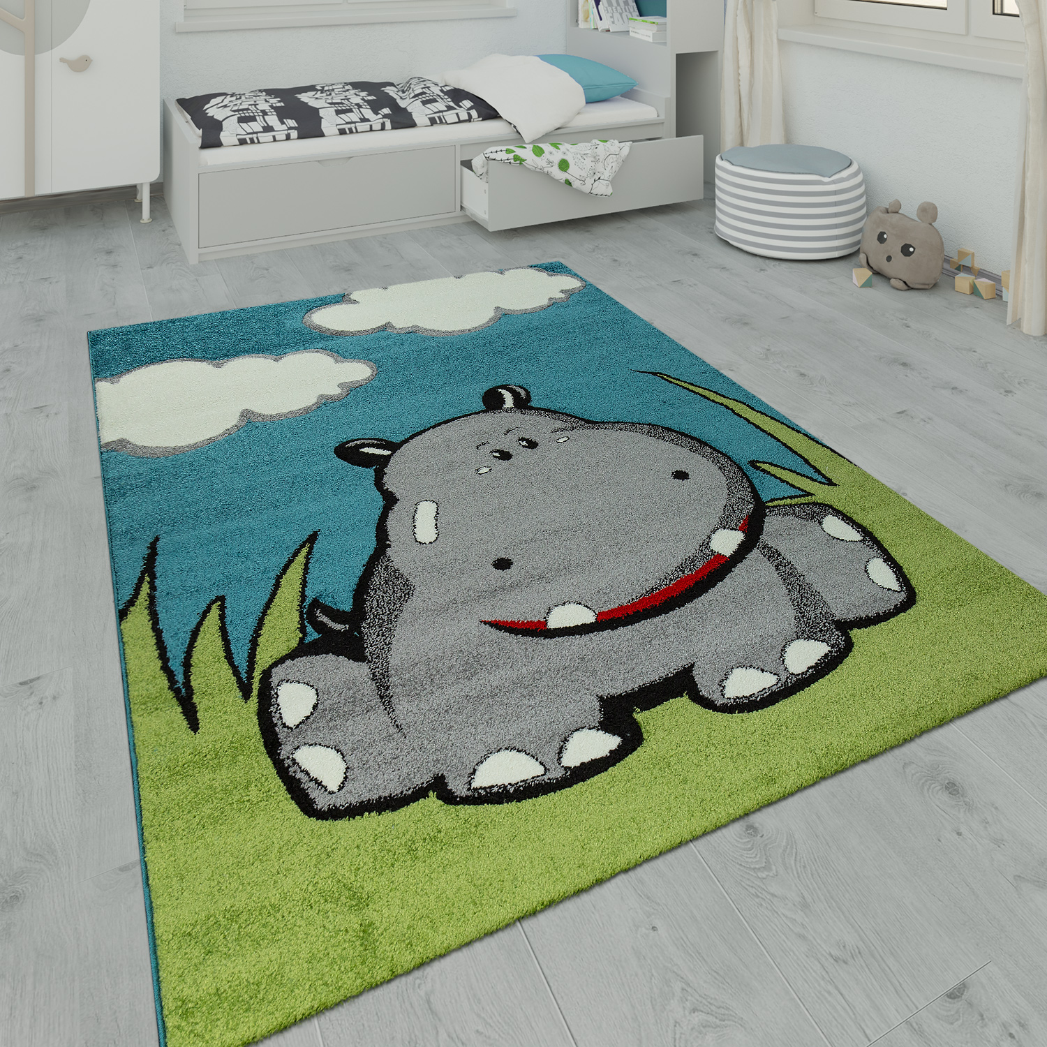 Children's Rug Playroom Hippo Design Blue