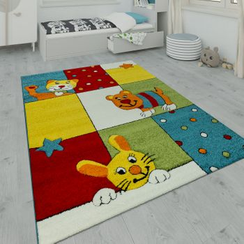 Children's Rug Playroom Dog Cat Hare Multicolour – Bild 1
