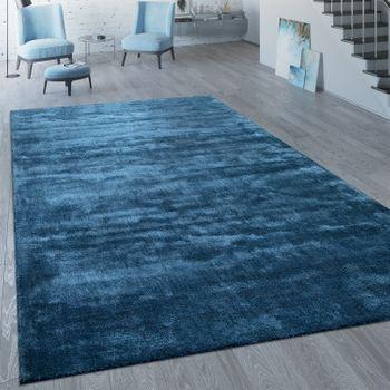 Kurzflor Teppich Unifarben Blau – Bild 1