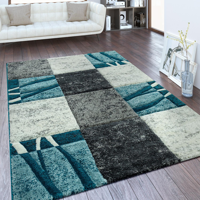 Modern short pile carpet checkered design blue