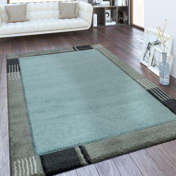 Moderner Kurzflor Teppich Bordüre Blau