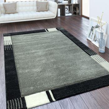 Moderner Kurzflor Teppich Bordüre Grau