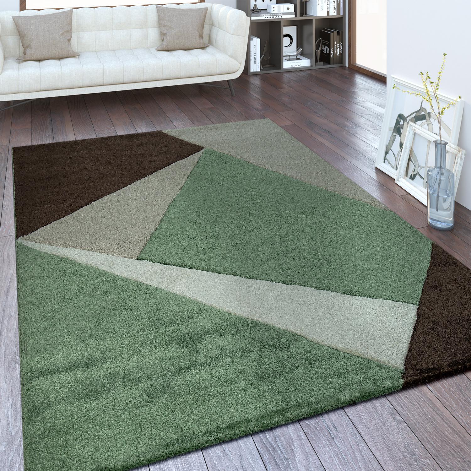 moderner kurzflor teppich geometrisches design gr n. Black Bedroom Furniture Sets. Home Design Ideas