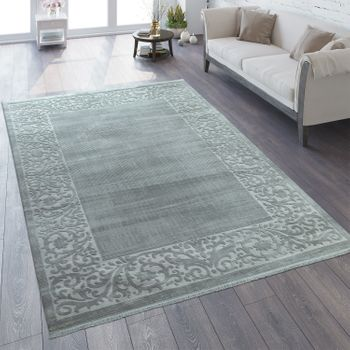 Oriental Rug Vintage Look Border In Grey