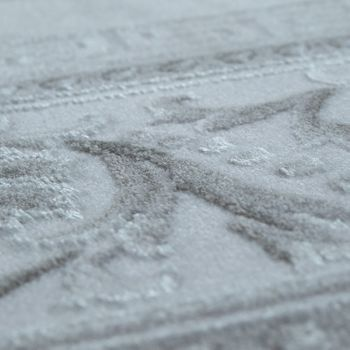 Kurzflorteppich 3D Effekt Bordüre Grau Silber – Bild 3