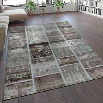 Design-vloerkleed patchwork-patroon beige – Bild 1