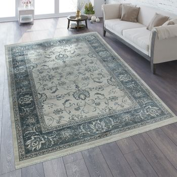 Oriental Rug Vintage Look Border In Cream