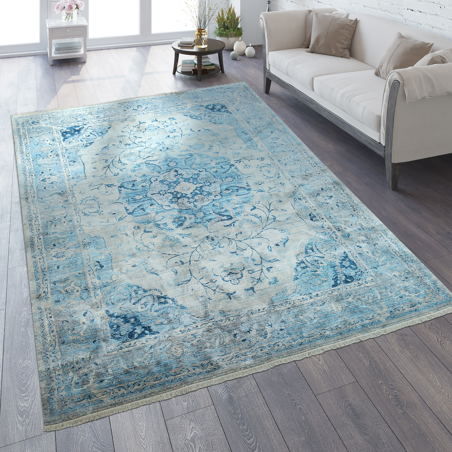 Oriental Rug Vintage Look Ornaments Blue