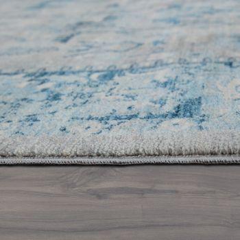 Orient Teppich Vintage Optik Bordüre Silber Grau – Bild 2