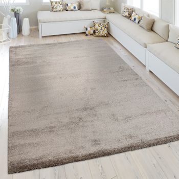 Short Pile Rug One Colour Brown