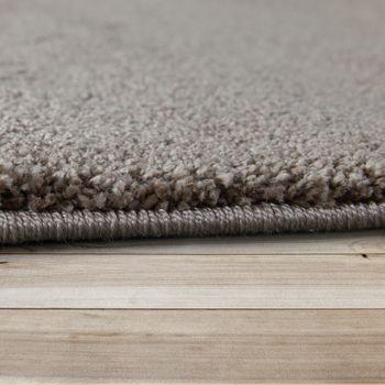 Kurzflor Teppich Einfarbig Braun – Bild 2