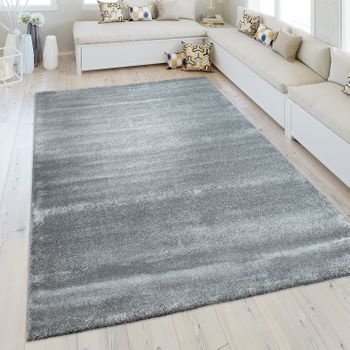 Short Pile Rug One Colour Silver Grey