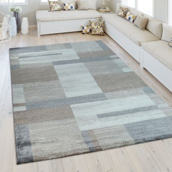 Heatset Rug Geometric Pattern Silver Grey