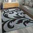 Designer Teppich Florales Muster Grau Schwar 001