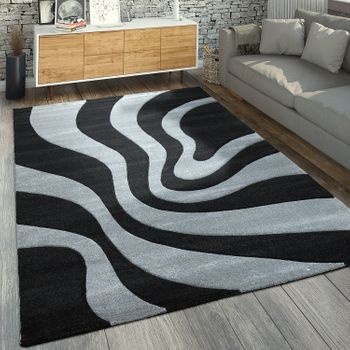 Designer Rug Wave Pattern Grey Black