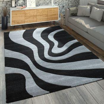 Designer Teppich Wellen Muster Grau Schwarz