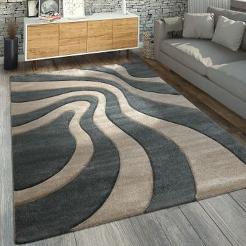 Designer Rug Wave Pattern Grey Beige