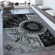 Heatset Teppich 3D  Effekt Orient Muster Schwarz 001