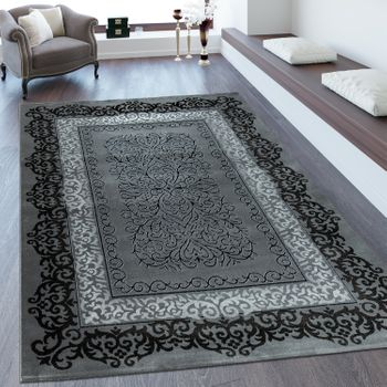 Heatset Rug 3D Effect Ornaments Black Grey