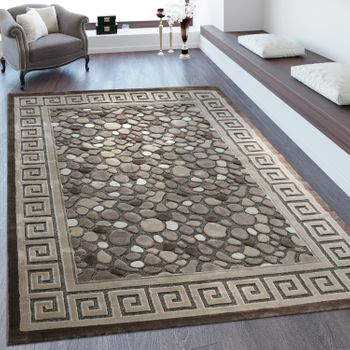 Short Pile Rug Stone Look Brown Cream
