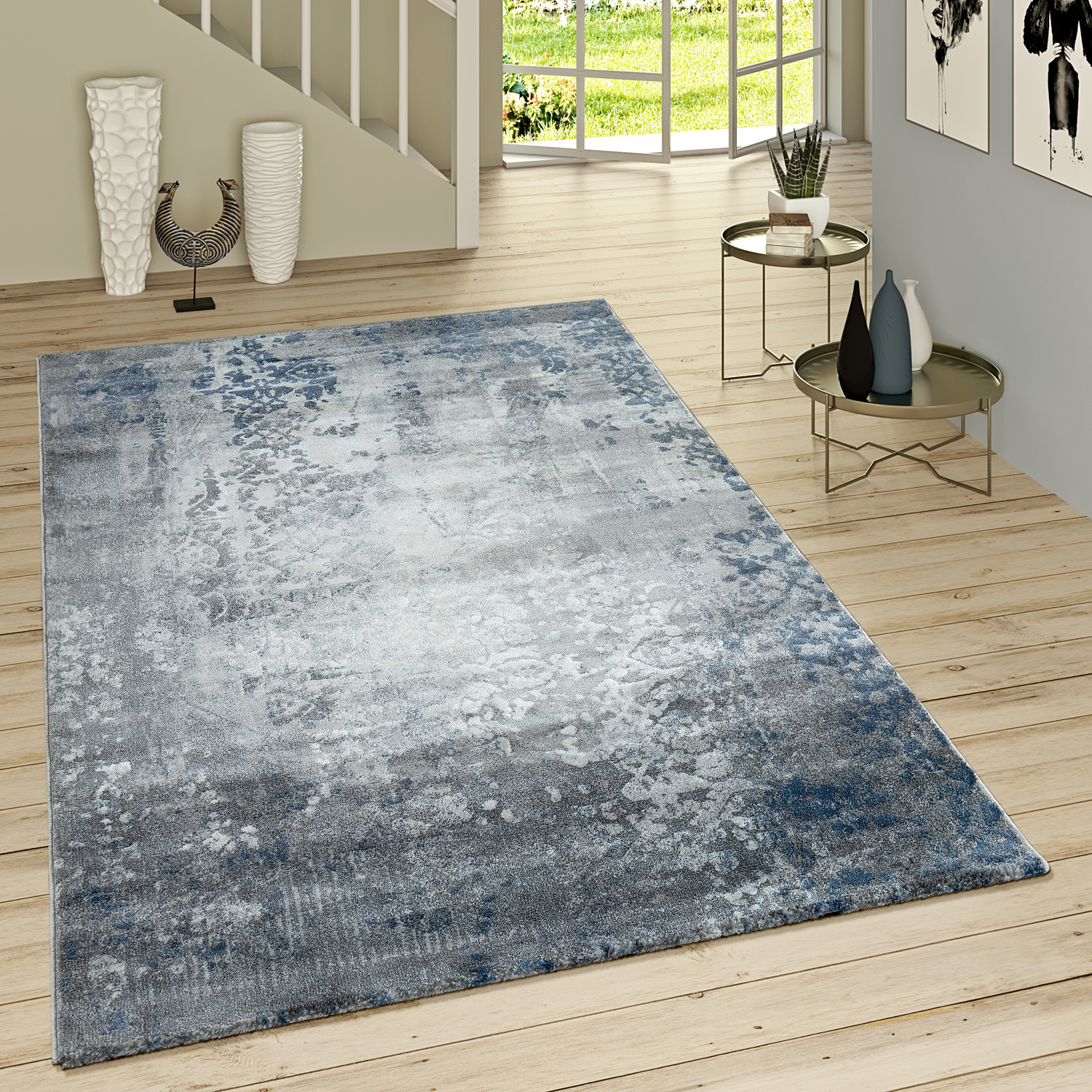 tapis poils ras moderne motif oriental gris bleu tapis tapis poil ras. Black Bedroom Furniture Sets. Home Design Ideas