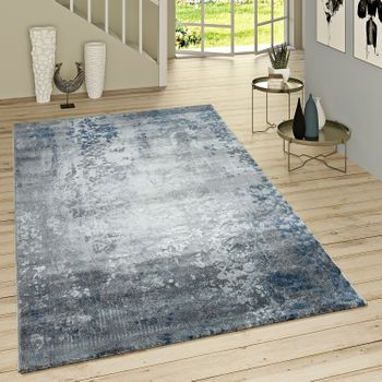Short Pile Rug Modern Oriental Pattern Grey Blue