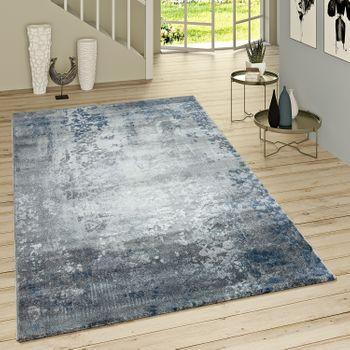 Kurzflor Teppich Modern Orientalisches Muster Grau Blau