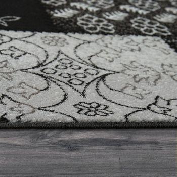 Kurzflorteppich Patchwork Muster Schwarz – Bild 2