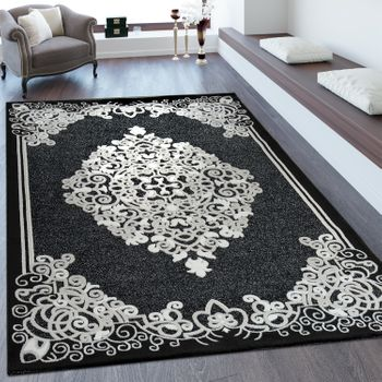 Short Pile Rug Baroque Design Black