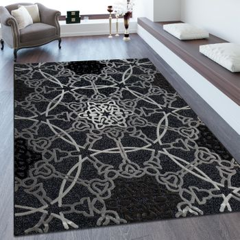 Short Pile Rug Mandala Pattern Black