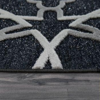 Kurzflorteppich Mandala Muster Schwarz – Bild 2