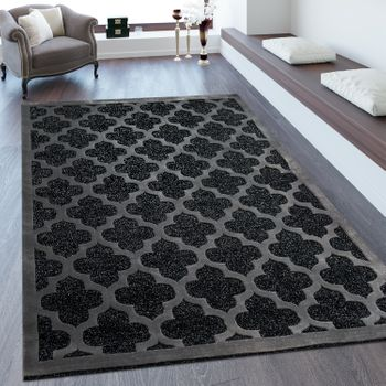 Short Pile Rug Baroque Look Grey Silver