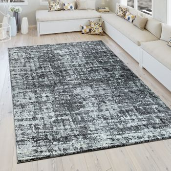 Short Pile Rug Vintage Look Grey