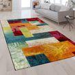 Designer Teppich Karo Muster Multicolor 001