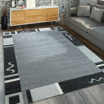 Designer Rug Border In Grey