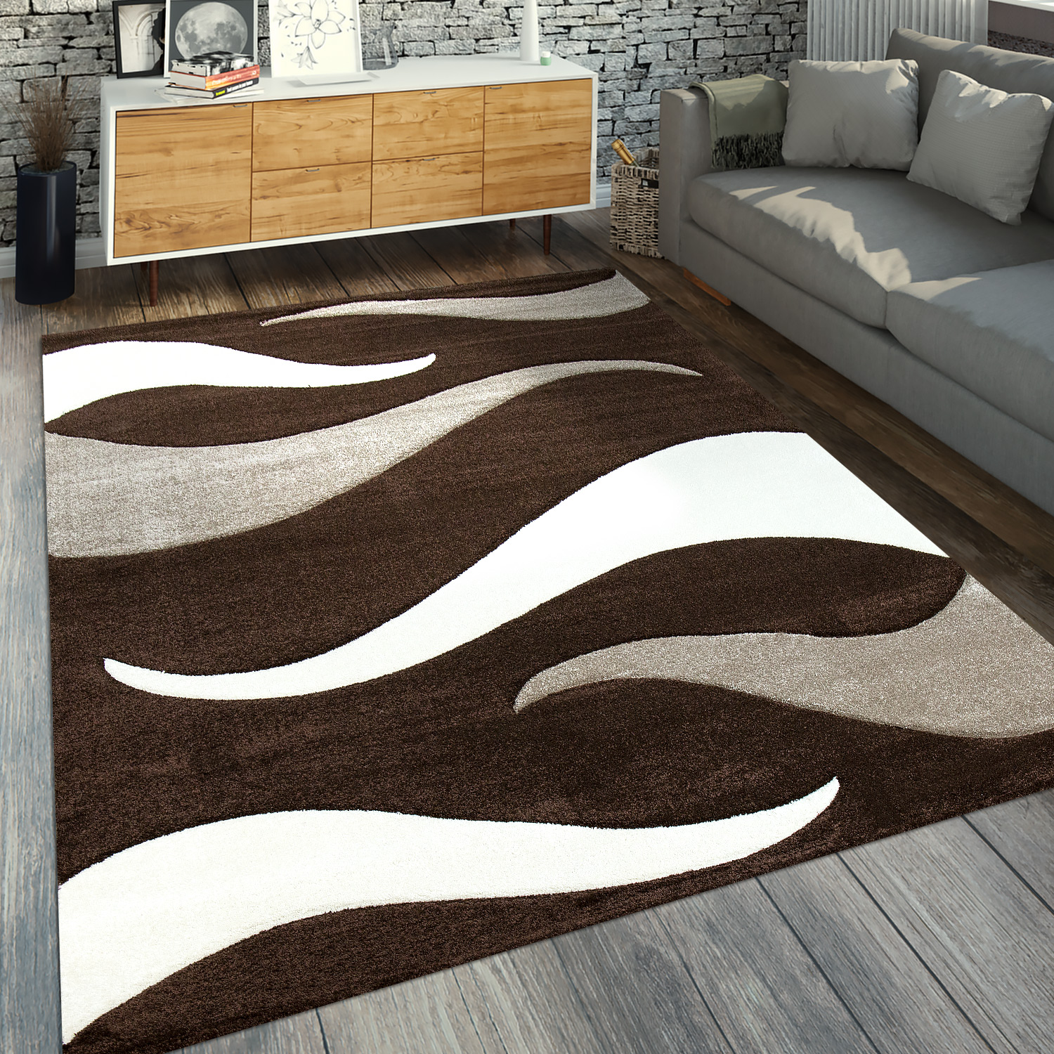 Designer Rug Wave Design Brown