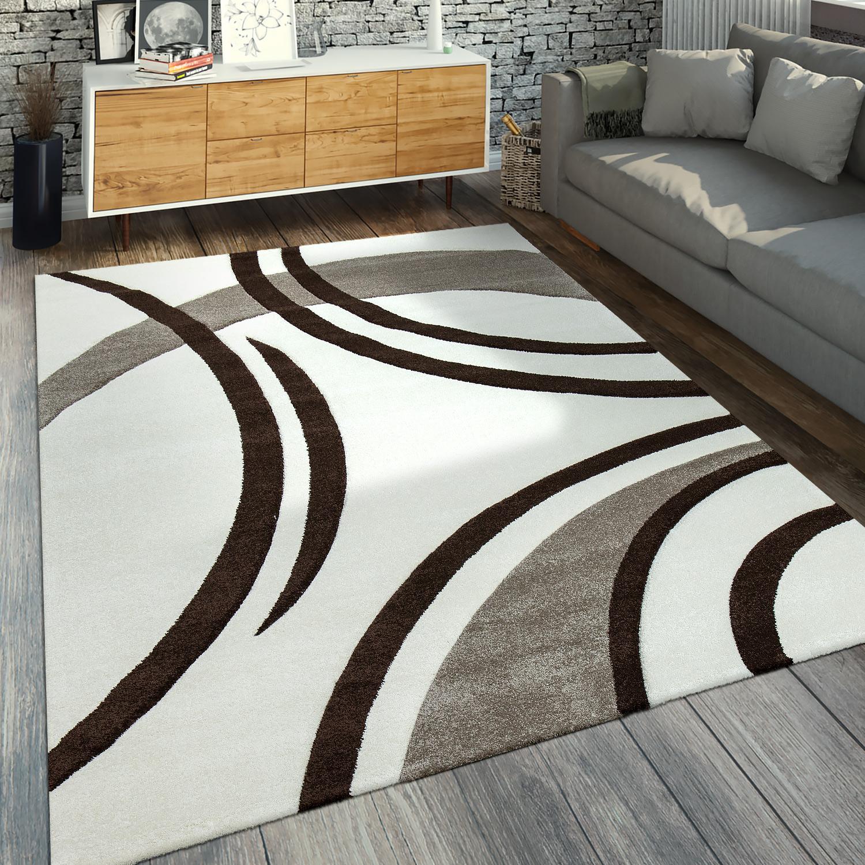 Modern, laagpolig vloerkleed golfpatroon bruin crème