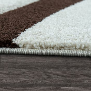 Modern Short Pile Rug Wave Pattern Brown Cream – Bild 2