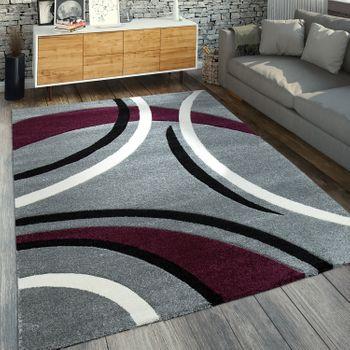 Moderner Kurzflorteppich Geometrisches Muster Grau Lila
