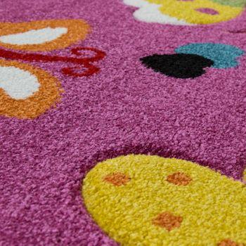Kinderteppich 3D Effekt Schmetterlings Welt Pink – Bild 3