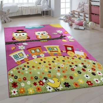 Children's Rug 3D Effect Playful Owls Pink