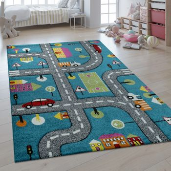 Children's Rug 3D Effect Car World Road Map Blue