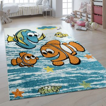 Children's Rug 3D Effect Finding Nemo Fish Blue